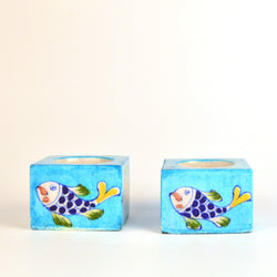 Ceramic Light Blue Tea Light Holder with Fish Design, Set of Two - FOLKBRIDGE.COM | Buy Gifts. Indian Handicrafts. Home Decorations.