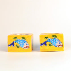 Yellow Tea Light Holder with Multicolored Fish, Set of Two - FOLKBRIDGE.COM | Buy Gifts. Indian Handicrafts. Home Decorations.
