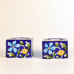 Blue Tea Light Holder with Floral Design, Set of Two - FOLKBRIDGE.COM | Buy Gifts. Indian Handicrafts. Home Decorations.