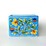 Ceramic Rectangle Floral Blue Planter - FOLKBRIDGE.COM | Buy Gifts. Indian Handicrafts. Home Decorations.