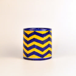 Round Ceramic Yellow and Blue Geometrical Pen Holder - FOLKBRIDGE.COM | Buy Gifts. Indian Handicrafts. Home Decorations.