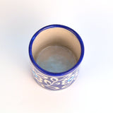 Hand Painted Round Ceramic Blue Pen Holder - FOLKBRIDGE.COM | Buy Gifts. Indian Handicrafts. Home Decorations.