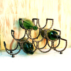 Iron Bicycle Chain Wine Holder - FOLKBRIDGE.COM | Buy Gifts. Indian Handicrafts. Home Decorations.