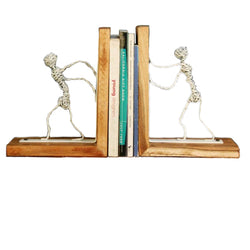 Wood And Iron White  Wire BookEnds - FOLKBRIDGE.COM | Buy Gifts. Indian Handicrafts. Home Decorations.