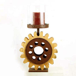 Industrial Wooden and Iron Cog Wheel Candle Holder - FOLKBRIDGE.COM | Buy Gifts. Indian Handicrafts. Home Decorations.