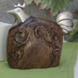 Carved Wooden And Iron Hen Showpiece  - FOLKBRIDGE.COM | Buy Gifts. Indian Handicrafts. Home Decorations.