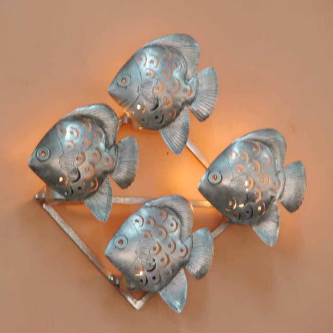 Angel Fishes Wall Mounted Or Mountable Tea Light Holder - FOLKBRIDGE.COM | Buy Gifts. Indian Handicrafts. Home Decorations.