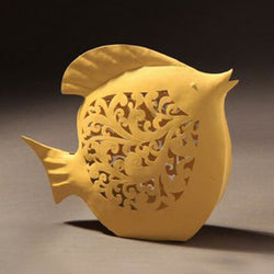 Yellow Iron Decorative Filigree Work Fish Sculpture - FOLKBRIDGE.COM | Buy Gifts. Indian Handicrafts. Home Decorations.