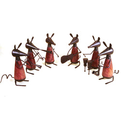 Wooden and Iron Mouse Decorative Musicians, Set of 6 - FOLKBRIDGE.COM | Buy Gifts. Indian Handicrafts. Home Decorations.