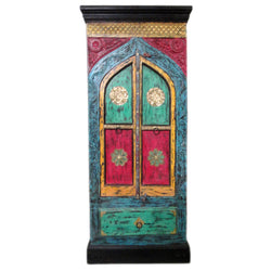 Handpainted Multicoloured Wooden Brass Double Door Coupboard With Drawer - FOLKBRIDGE.COM | Buy Gifts. Indian Handicrafts. Home Decorations.