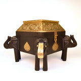 Wooden and Brass Brown Elephant Box - FOLKBRIDGE.COM | Buy Gifts. Indian Handicrafts. Home Decorations.