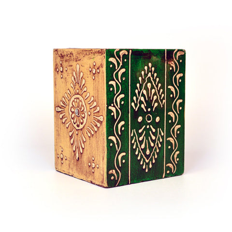 Square Wooden Green and Cream Pen Stand - FOLKBRIDGE.COM | Buy Gifts. Indian Handicrafts. Home Decorations.
