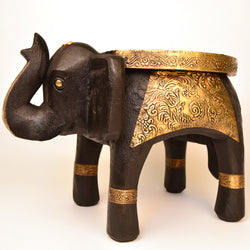 Wooden and Brass Brown Elephant Round Side Stool, Small - FOLKBRIDGE.COM | Buy Gifts. Indian Handicrafts. Home Decorations.