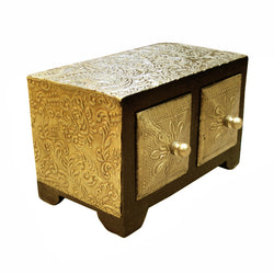 Rectangle Wooden Jewellery Chest of Two Drawers - FOLKBRIDGE.COM | Buy Gifts. Indian Handicrafts. Home Decorations.