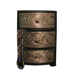 Wooden Black Jewellery Chest of Three Drawers - FOLKBRIDGE.COM | Buy Gifts. Indian Handicrafts. Home Decorations.