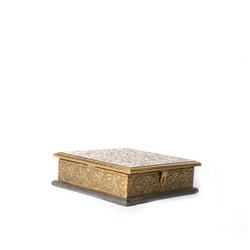 Square Wooden Golden Box with Carving - FOLKBRIDGE.COM | Buy Gifts. Indian Handicrafts. Home Decorations.