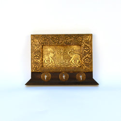 Brass and Wooden Rectangle Three Key Holder Or Keyholder - FOLKBRIDGE.COM | Buy Gifts. Indian Handicrafts. Home Decorations.