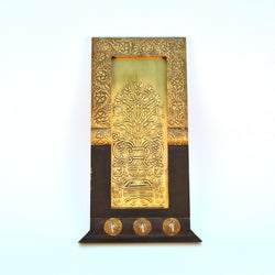 Brass and Wooden Floral Three Key Holder - FOLKBRIDGE.COM | Buy Gifts. Indian Handicrafts. Home Decorations.