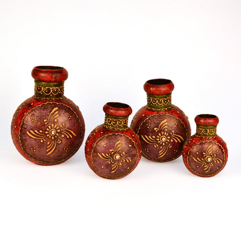 Painted,Small Pot Set Of 4 - FOLKBRIDGE.COM | Buy Gifts. Indian Handicrafts. Home Decorations.