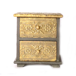 Small Table Top Drawer Chest, Two Drawers, Intricate Artwork - FOLKBRIDGE.COM | Buy Gifts. Indian Handicrafts. Home Decorations.
