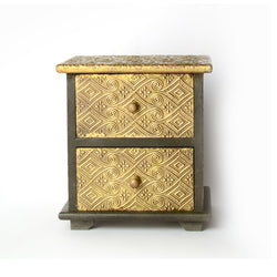 Small Table Top Drawer Chest, Two Drawers, Geometric Design - FOLKBRIDGE.COM | Buy Gifts. Indian Handicrafts. Home Decorations.