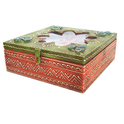 Wooden Multicolored Square Dry Fruit Box with Four Partition - FOLKBRIDGE.COM | Buy Gifts. Indian Handicrafts. Home Decorations.
