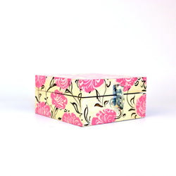 Wooden Yellow and Pink Floral Knick Knack Box - FOLKBRIDGE.COM | Buy Gifts. Indian Handicrafts. Home Decorations.