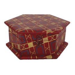 Wooden Red Hexagon Dry Fruit box - FOLKBRIDGE.COM | Buy Gifts. Indian Handicrafts. Home Decorations.
