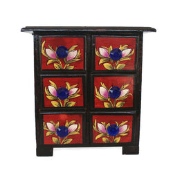 Wooden Red Jewellery Chest of Six Drawers - FOLKBRIDGE.COM | Buy Gifts. Indian Handicrafts. Home Decorations.