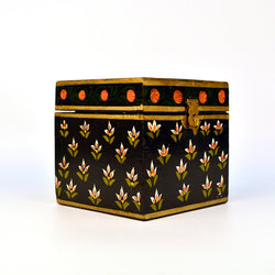 Square Wooden Black Floral Knick Knack Box - FOLKBRIDGE.COM | Buy Gifts. Indian Handicrafts. Home Decorations.