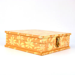 Square Wooden Orange and White Box - FOLKBRIDGE.COM | Buy Gifts. Indian Handicrafts. Home Decorations.