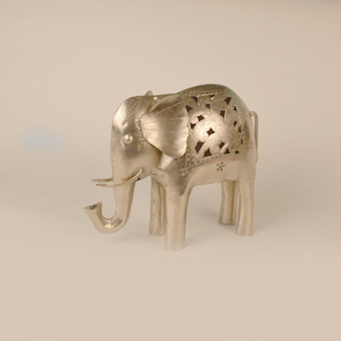 Iron Silver Elephant Tea Light Holder - FOLKBRIDGE.COM | Buy Gifts. Indian Handicrafts. Home Decorations.