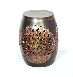 Carved Copper Drum Stool  - FOLKBRIDGE.COM | Buy Gifts. Indian Handicrafts. Home Decorations.