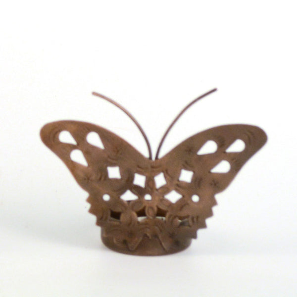 Iron Copper Finish Butterfly Tea Light Holder - FOLKBRIDGE.COM | Buy Gifts. Indian Handicrafts. Home Decorations.