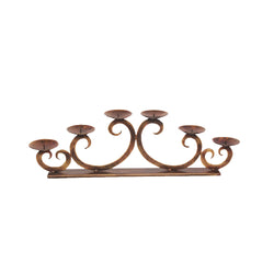 Copper Iron Six Candle Holder Stand - FOLKBRIDGE.COM | Buy Gifts. Indian Handicrafts. Home Decorations.