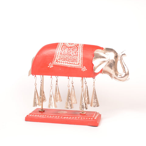 Wooden Red Elephant Figurine Chime - FOLKBRIDGE.COM | Buy Gifts. Indian Handicrafts. Home Decorations.