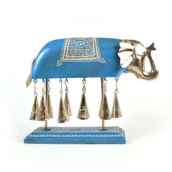 Wooden Blue Elephant Figurine Chime - FOLKBRIDGE.COM | Buy Gifts. Indian Handicrafts. Home Decorations.