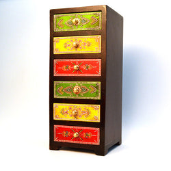 Wooden Multicolored Chest of Six Drawers - FOLKBRIDGE.COM | Buy Gifts. Indian Handicrafts. Home Decorations.