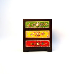 Wooden Multicolored Chest of Three Drawers - FOLKBRIDGE.COM | Buy Gifts. Indian Handicrafts. Home Decorations.