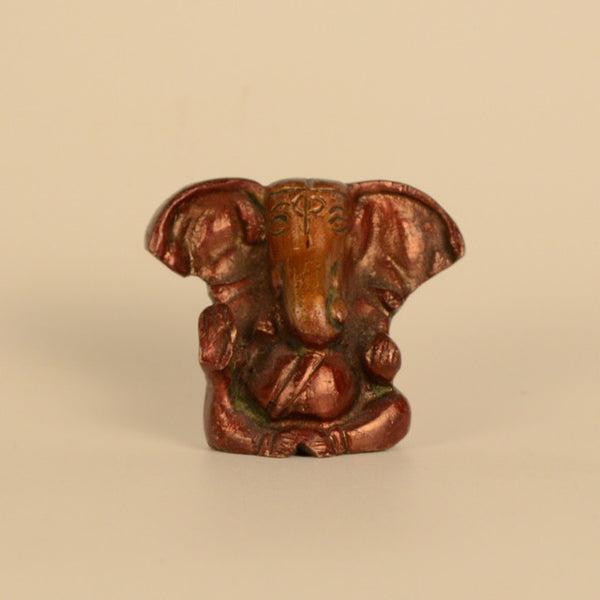 Abstract Brass Red Small Ganesh Idol with Big Ears - FOLKBRIDGE.COM | Buy Gifts. Indian Handicrafts. Home Decorations.