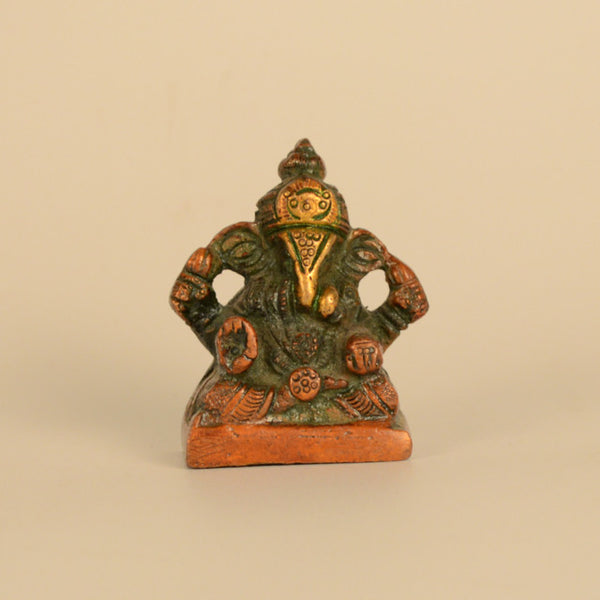 Brass Red Four Hand Ganesh Idol - FOLKBRIDGE.COM | Buy Gifts. Indian Handicrafts. Home Decorations.