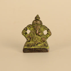 Brass Black and Green Four Hand Ganesh Idol - FOLKBRIDGE.COM | Buy Gifts. Indian Handicrafts. Home Decorations.