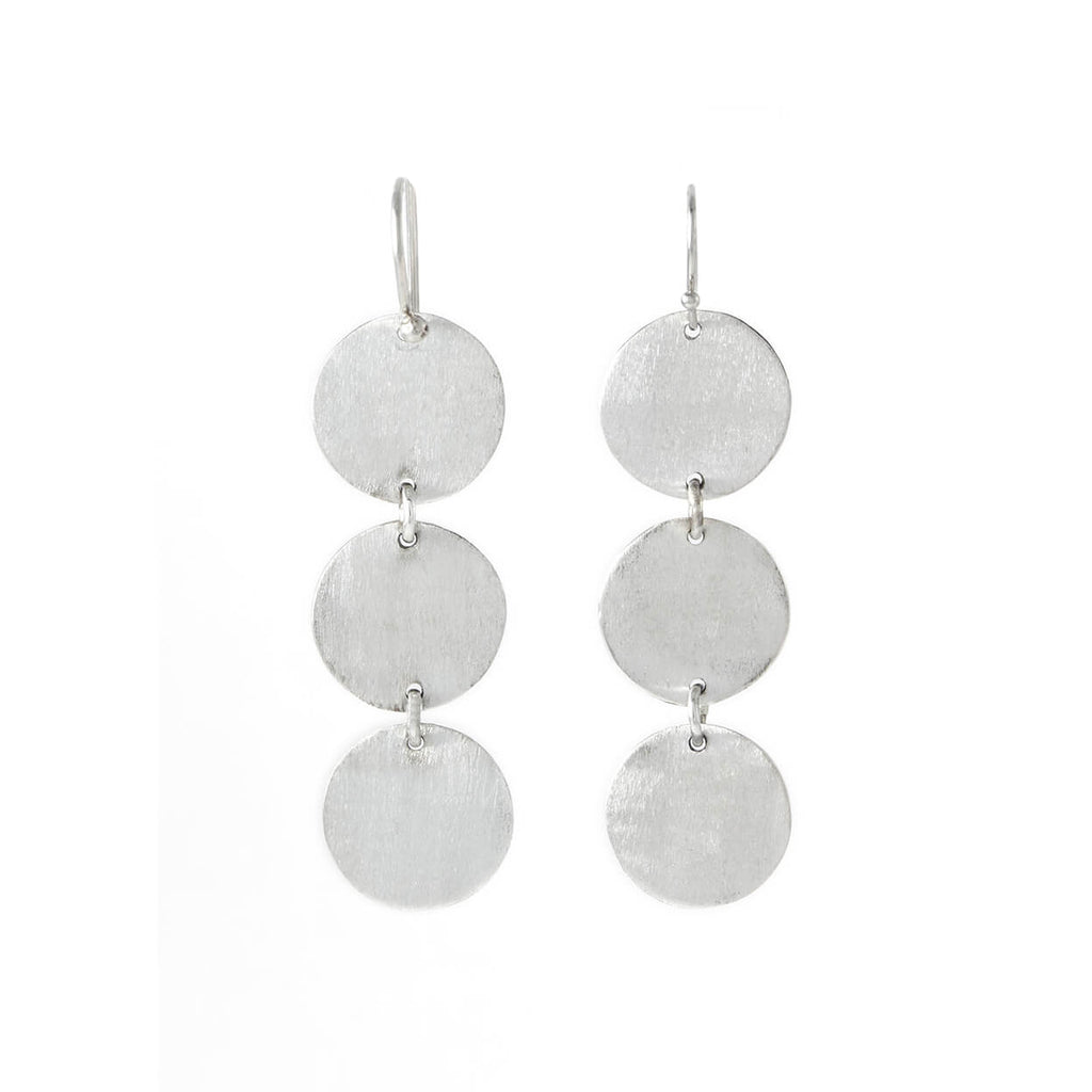 Textura Three Drop Earrings in Sterling Silver