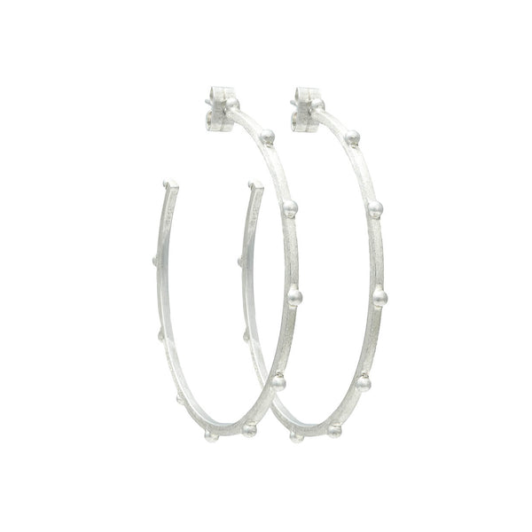 58MM Textura Lluvia Beaded Hoop Earrings in Sterling Silver