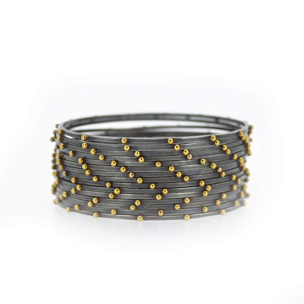 Lluvia Beaded  Bracelet in Oxidized Sterling Silver and 14K Gold