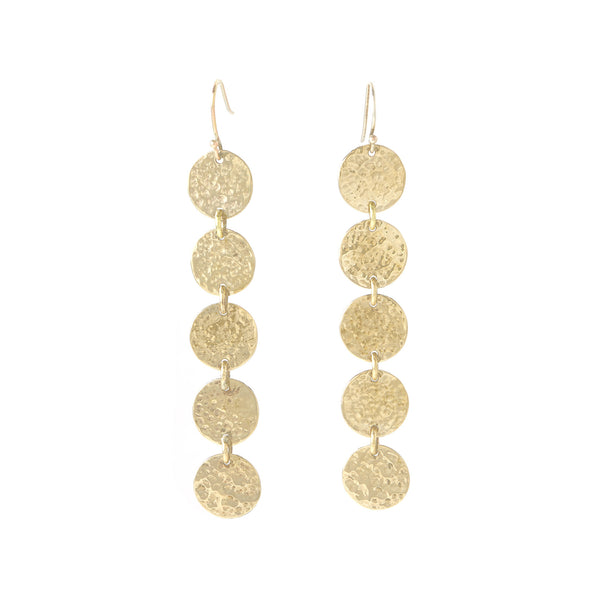 Martillado Five Disk Earrings in Recycled Brass