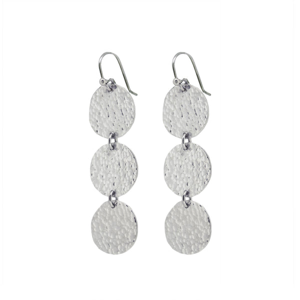 Martillado Triple Drop Earrings in Sterling Silver