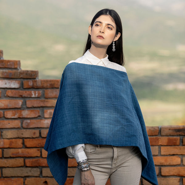 Natural Indigo Alpaca and Cotton Poncho