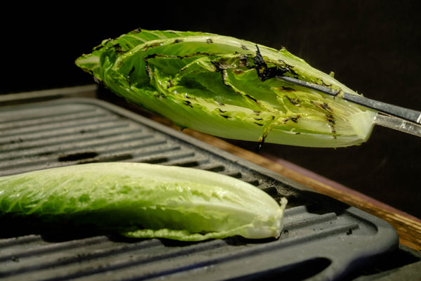 Grilled romaine on cast iron grill pan