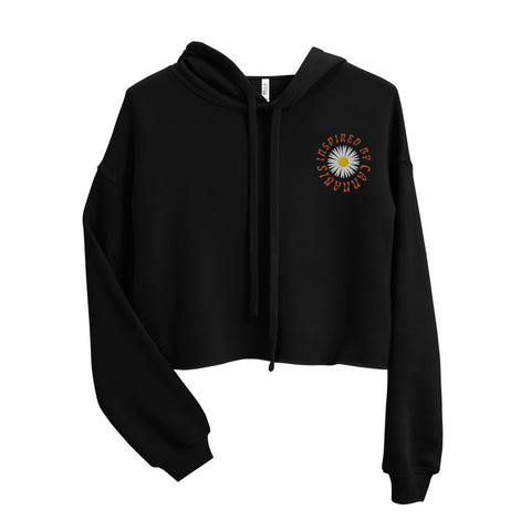 Flower Power Embroidered Crop Hoodie